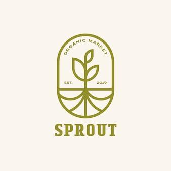 Brotar com linha moderna de raízes, vetor de logotipo do emblema