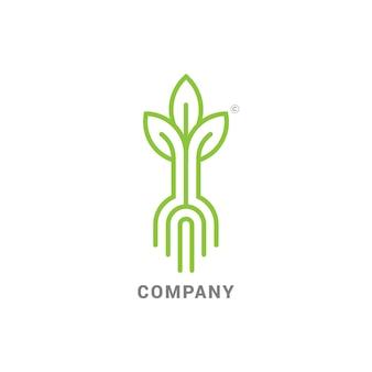 Brotar, com, raizes, modernos, linha logotipo, marca, com, brotar, semente