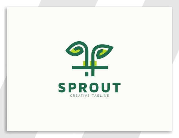 Broto de planta com folhas e design de logotipo plano de raiz