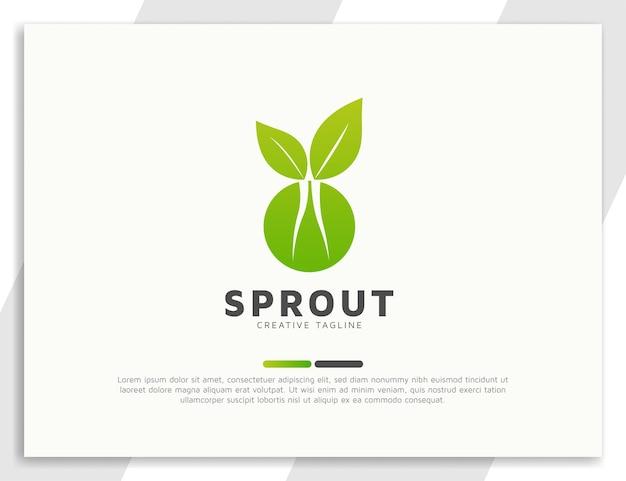 Broto de planta verde com folhas e design de logotipo de raiz