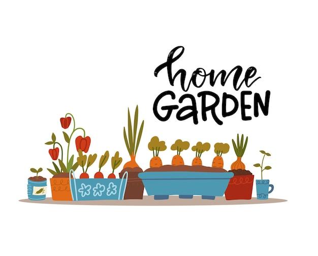 Brotos e mudas de várias plantas vegetais em vasos de flores em um peitoril de janela ou coleção de imagens de prateleira sobre o tema de jardinagem com letras de citação de jardim doméstico