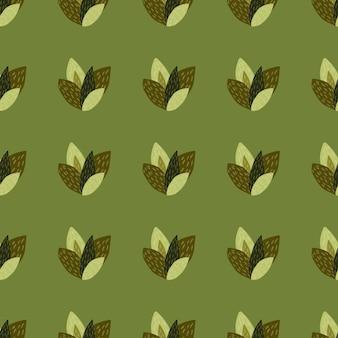 Brown e folhas verdes em padrão sem emenda com fundo verde-oliva.