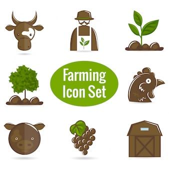 Brown e ícones de fazenda verdes