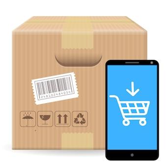 Brown fechou a caixa de embalagem de pacote com sinais frágeis e código de barras isolado no fundo branco com gadget e loja online. modelo para compras online, envio, entrega.