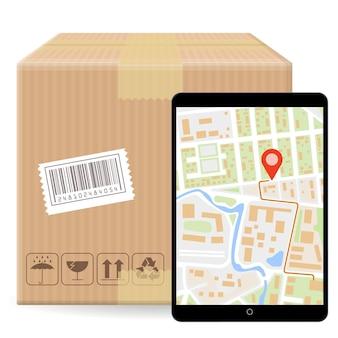 Brown fechou a caixa de embalagem de pacote com sinais frágeis e código de barras isolado no fundo branco e gadget com mapa de gps. modelo para pedido de rastreamento de encomendas de envio.
