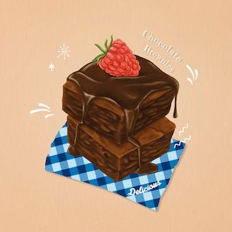 Brownies doces desenhados à mão