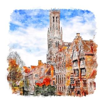 Bruges bélgica desenho em aquarela desenhado à mão