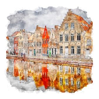 Bruges bélgica ilustração em aquarela de esboço desenhado à mão