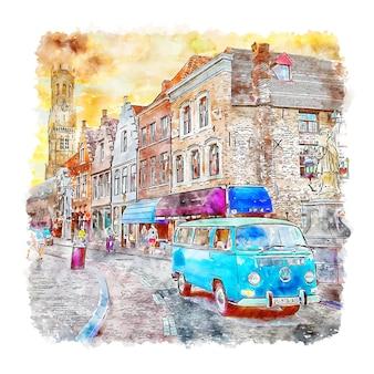 Brugge belgium esboço em aquarela desenhado à mão