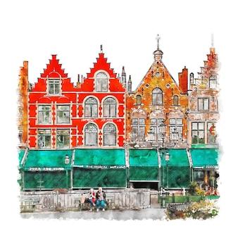 Brugge belgium ilustração em aquarela de esboço desenhado à mão