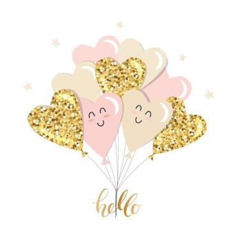 Brunch de balões de coração kawaii. girly. glitter dourado, rosa pastel e bege.