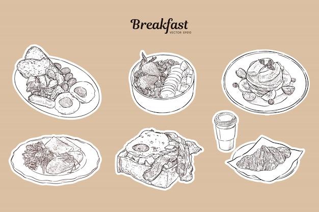 Brunch de café da manhã saudável começar dia opções comida coleção, mão desenhar croqui