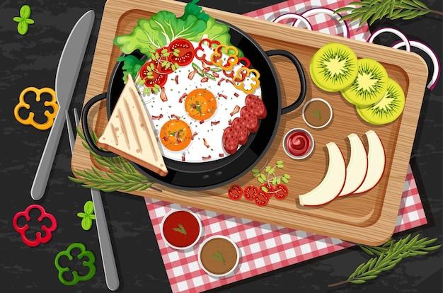 Brunch ou prato de café da manhã em estilo cartoon na mesa