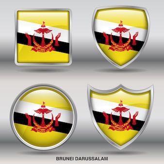Brunei darussalam flag bevel 4 shapes icon