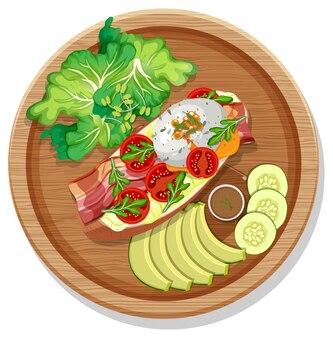 Bruschetta com vários vegetais em um prato redondo isolado