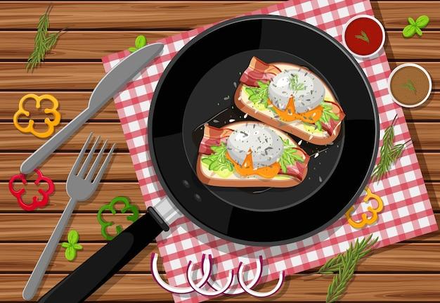 Bruschetta de café da manhã em uma panela no fundo da mesa