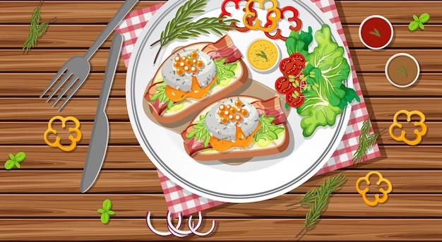 Bruschetta em um prato com legumes frescos no fundo da mesa