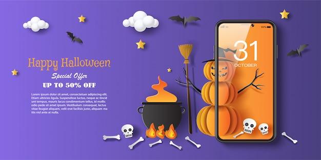 Bruxa abóbora com caldeirão de halloween, marketing digital no site e aplicativo móvel