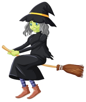 Bruxa assustadora andando na vassoura