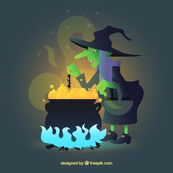 Bruxa assustadora com cozinhar uma poção