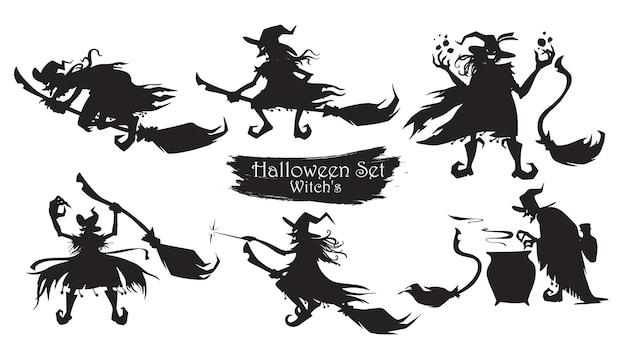 Bruxa assustadora com vassouras e chapéus silhueta coleção