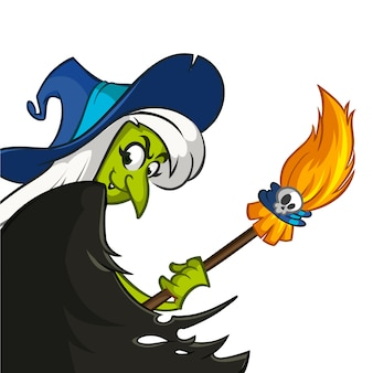 Bruxa assustadora de desenho animado, segurando a vassoura