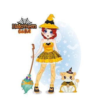 Bruxa boneca fofa coleção halloween e fofa mascote de gato