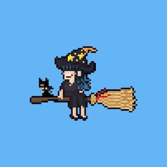 Bruxa bonita dos desenhos animados de pixel art na vassoura voadora.