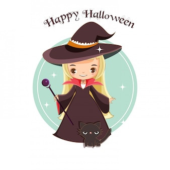 Bruxa bonita e gato preto para o conceito de halloween