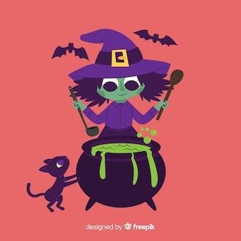Bruxa bonito dos desenhos animados de halloween