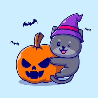 Bruxa bonito gato abraço abóbora ilustração dos desenhos animados de halloween.