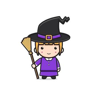 Bruxa bonito personagem halloween cartoon icon ilustração. projeto isolado estilo cartoon plana