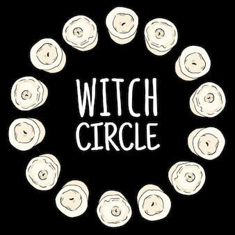 Bruxa círculo boho velas doodles em uma composição de grinalda.