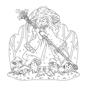 Bruxa cogumelo com um bastão mágico, uma capa e um chapéu de mosca agaric desenho para colorir de halloween
