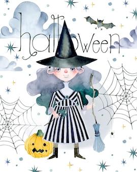 Bruxa com chapéu de convite em aquarela de halloween