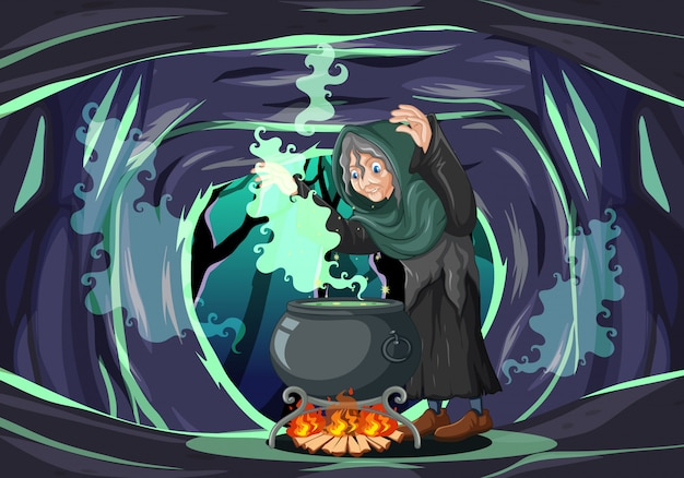 Bruxa com estilo de desenho animado pote de magia negra em fundo escuro da caverna