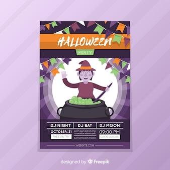 Bruxa com panfleto de festa de halloween de caldeirão