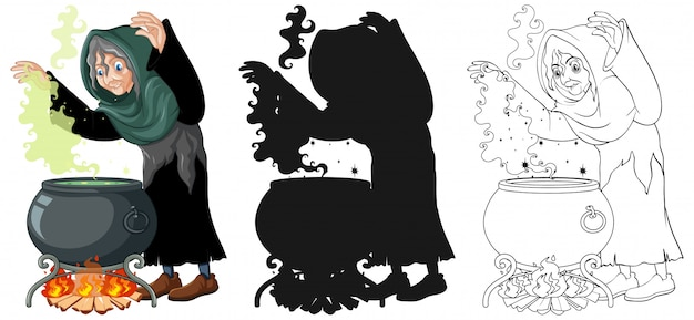 Bruxa com pote de magia negra na cor e contorno e silhueta cartoon personagem isolada no fundo branco