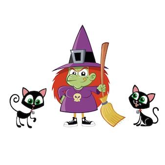 Bruxa com uma vassoura e seus gatos