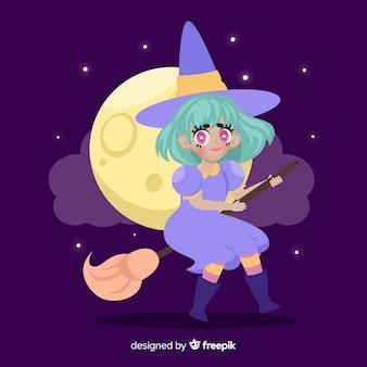 Bruxa com vassoura em uma noite de lua cheia