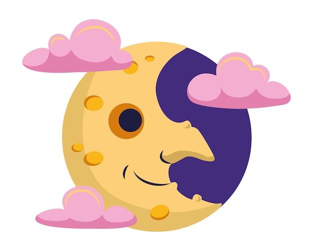 Bruxa da lua nas nuvens para o halloween. ilustração vetorial de desenho animado