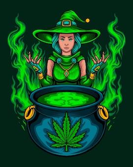 Bruxa da maconha verde com feitiço