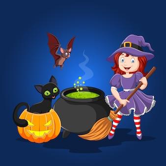 Bruxa de desenho animado segurando a vassoura
