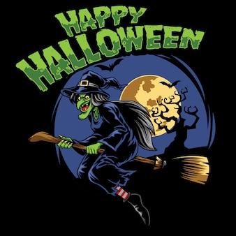 Bruxa de desenho de halloween e vassoura voadora