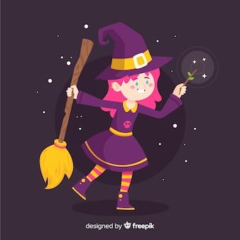 Bruxa de halloween bonito à noite
