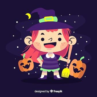 Bruxa de halloween bonito com abóboras