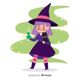 Bruxa de halloween bonito com animais