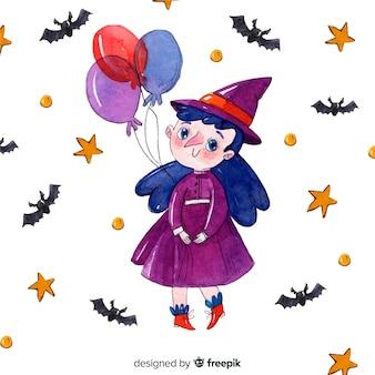 Bruxa de halloween bonito com balões