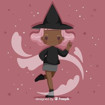 Bruxa de halloween bonito com cabelo rosa