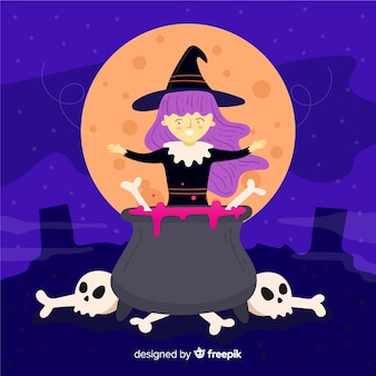 Bruxa de halloween bonito com caveiras